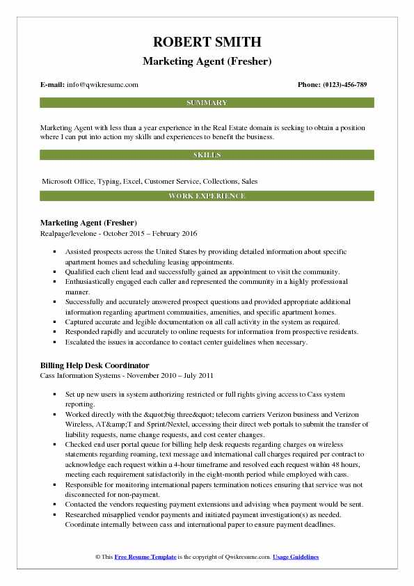 Marketing Agent (Fresher) Resume Example