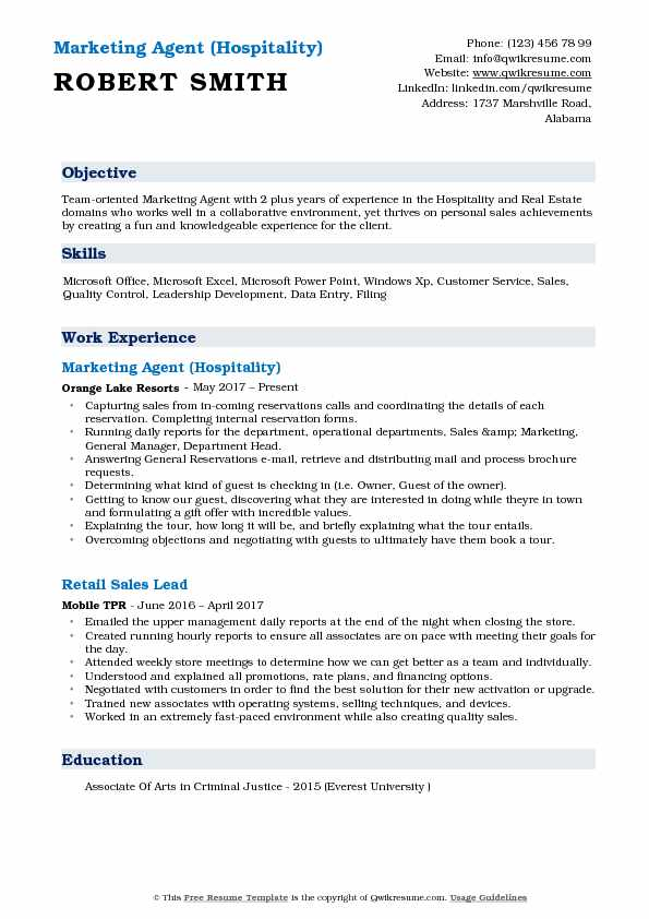 Marketing Agent (Hospitality) Resume Sample