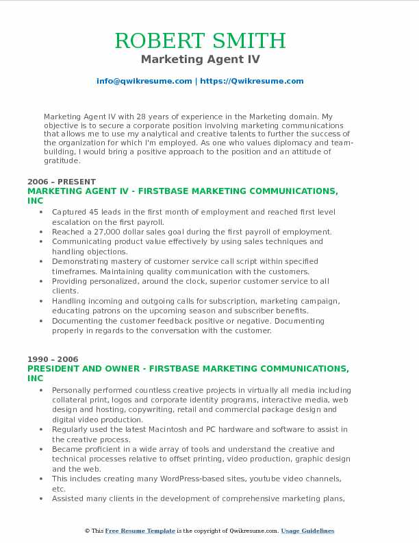 Marketing Agent IV Resume Model
