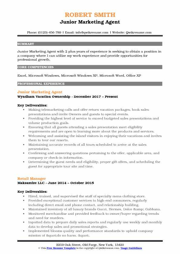 Junior Marketing Agent Resume Template