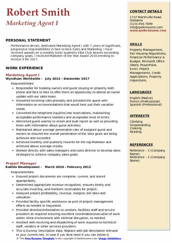 Marketing Agent I Resume Example