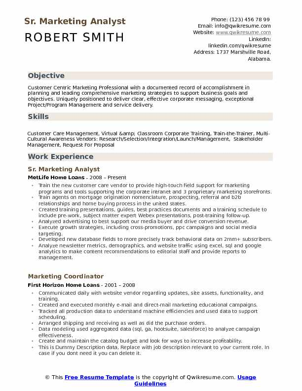 sr marketing analyst resume sample