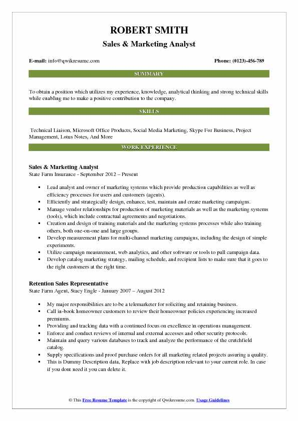Sales & Marketing Analyst Resume Sample