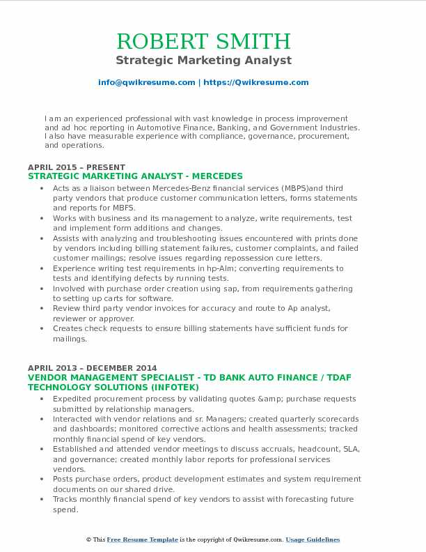 Strategic Marketing Analyst Resume Template