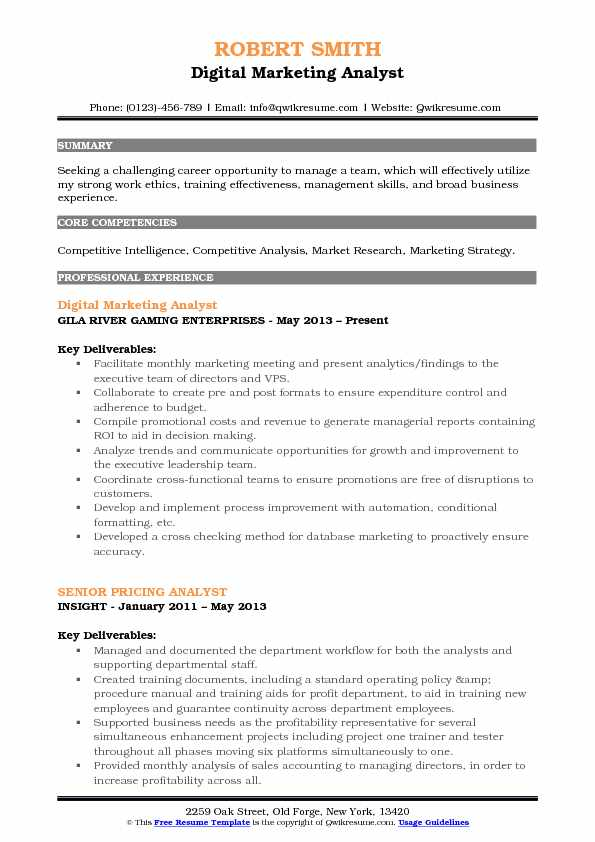 digital marketing analyst resume format