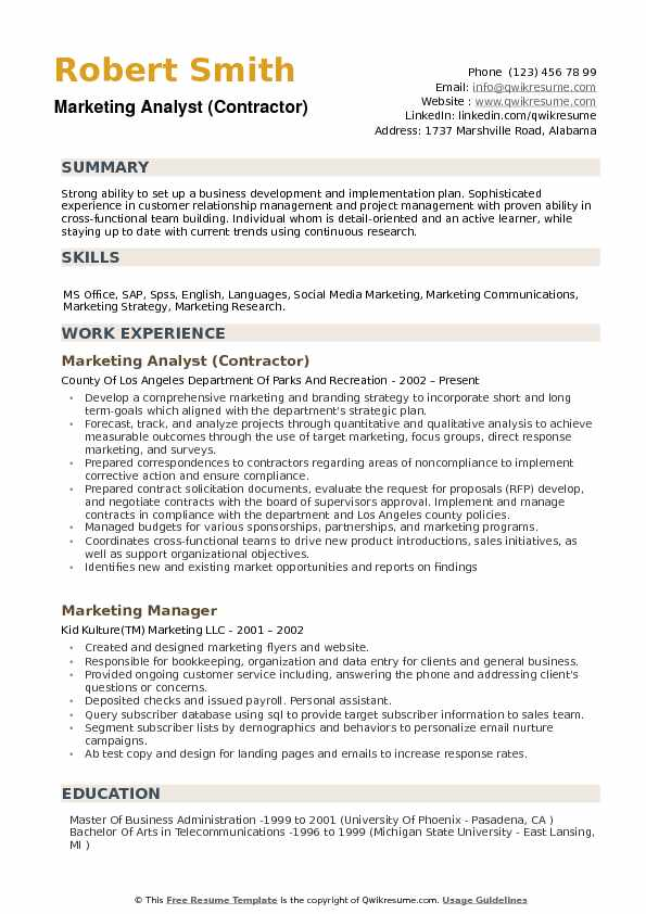 Marketing Analyst (Contractor) Resume Format