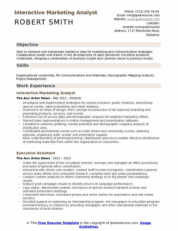 marketing communication analyst resume
