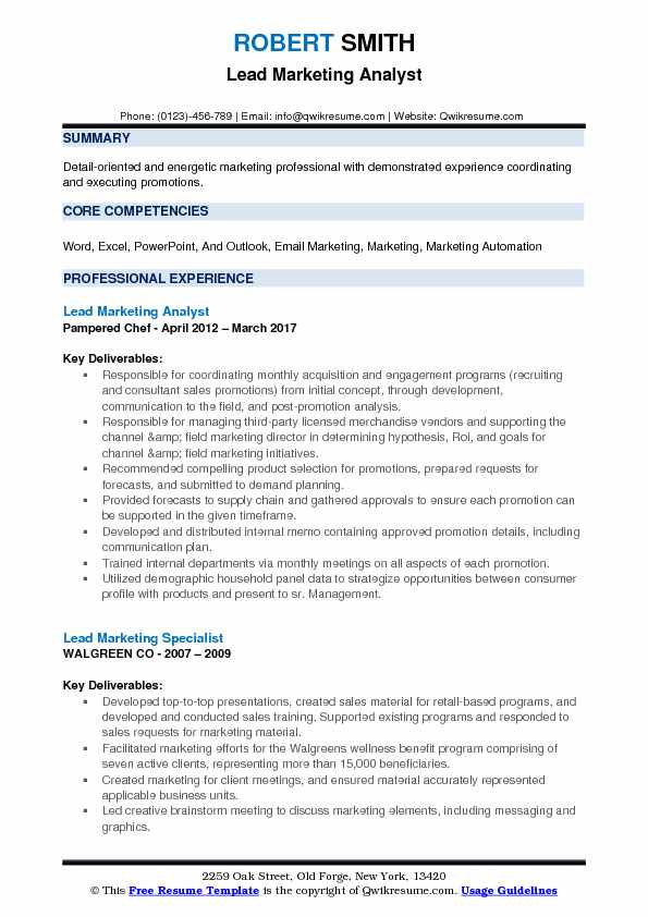 Lead Marketing Analyst Resume Model