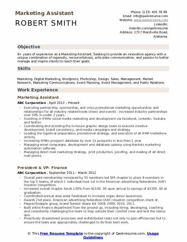 marketing assistant resume samples