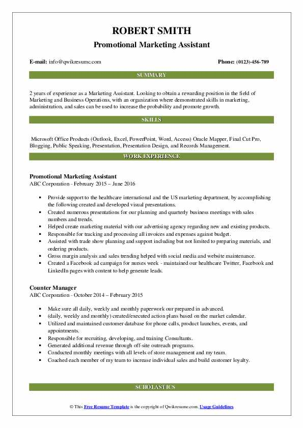 Promotional Marketing Assistant Resume Example