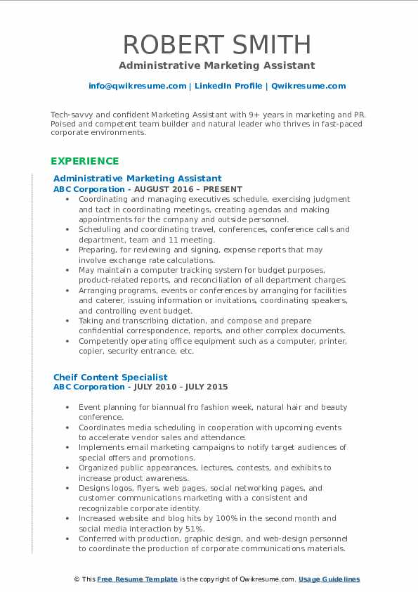 Administrative Marketing Assistant Resume Format