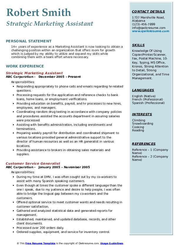 Strategic Marketing Assistant Resume Format