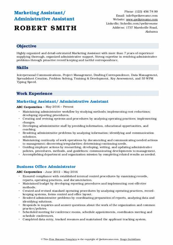 Marketing Assistant/ Administrative Assistant Resume Example