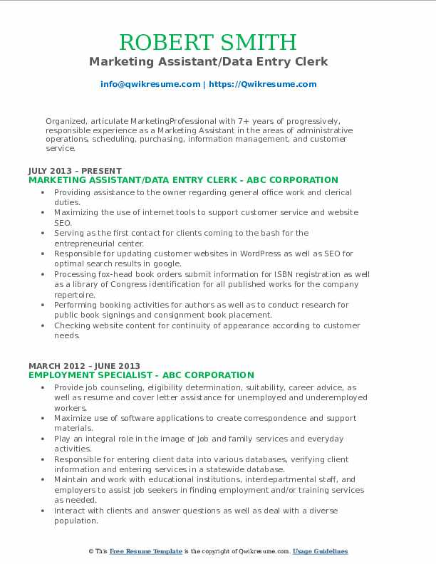Marketing Assistant/Data Entry Clerk Resume Model