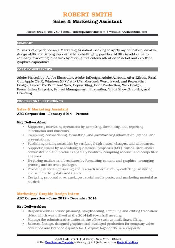 Sales & Marketing Assistant Resume Example