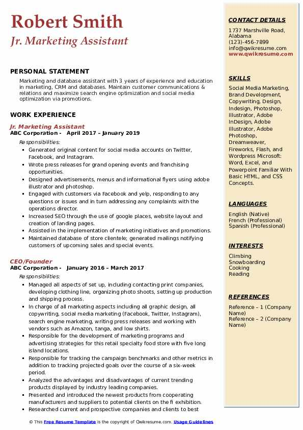 Jr. Marketing Assistant Resume Format