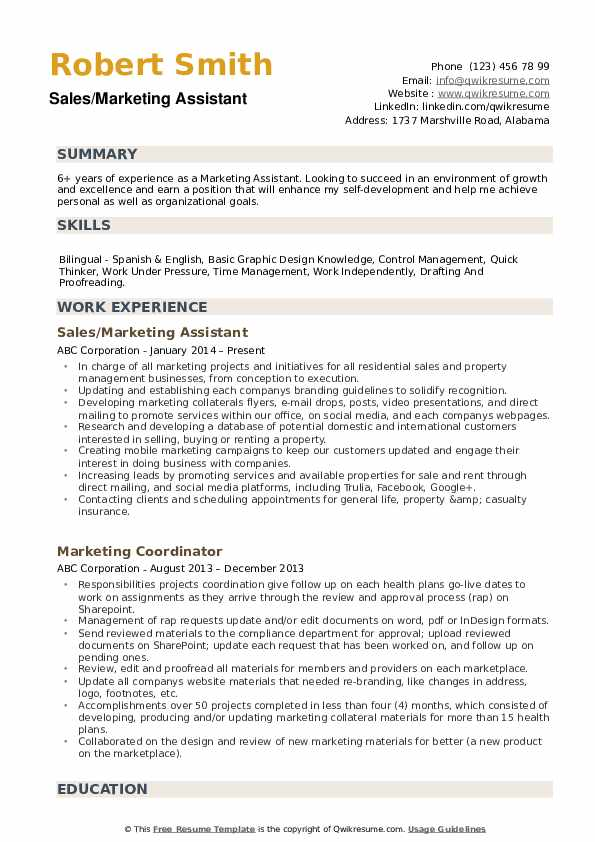 Sales/Marketing Assistant Resume Model