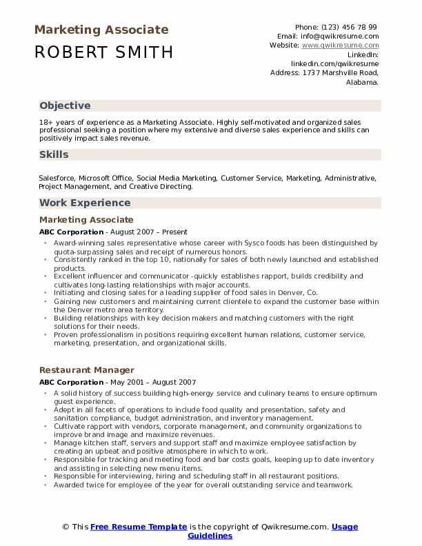 Marketing Associate  Resume Template
