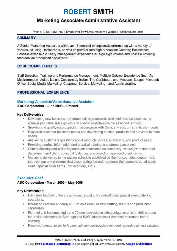 Marketing Associate/Administrative Assistant Resume Example