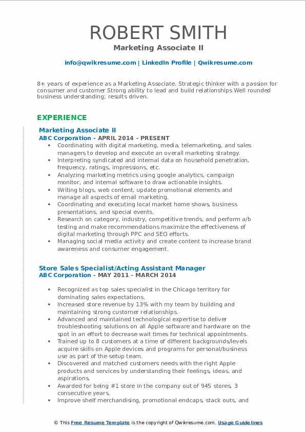 Marketing Associate II Resume Format