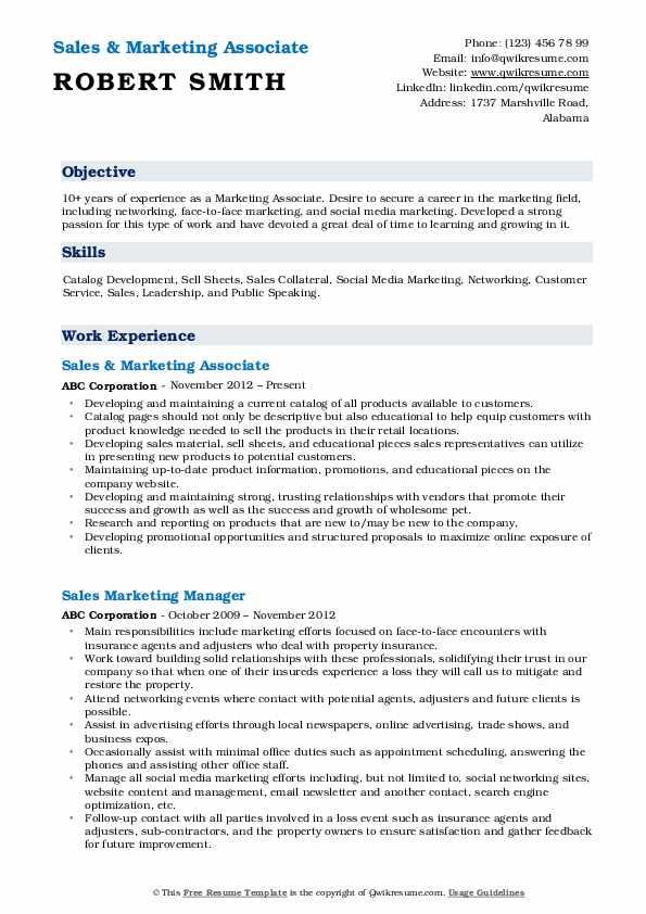 Sales & Marketing Associate Resume Template