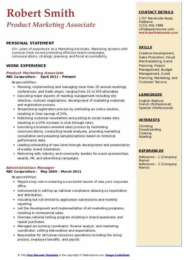 Product Marketing Associate Resume Example