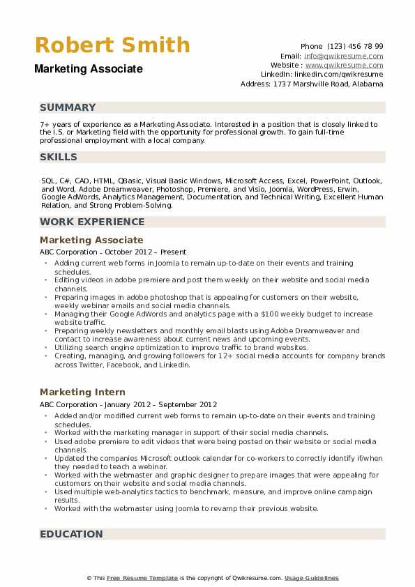 Marketing Associate Resume example