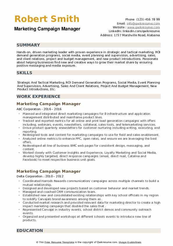 Marketing Campaign Manager Resume example