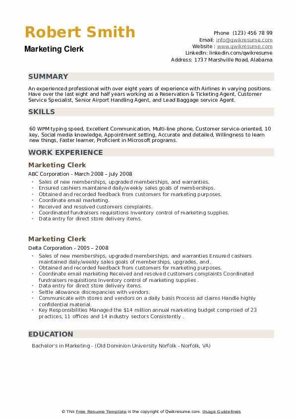 Marketing Clerk Resume example
