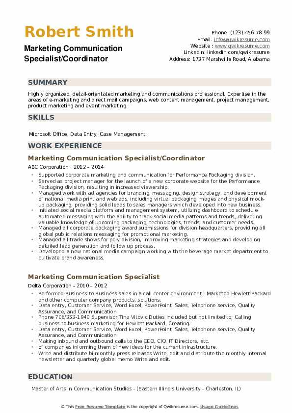 Marketing Communication Specialist Resume example