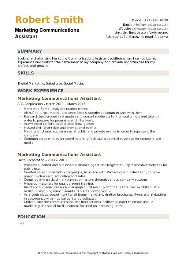 Marketing Communications Assistant Resume example