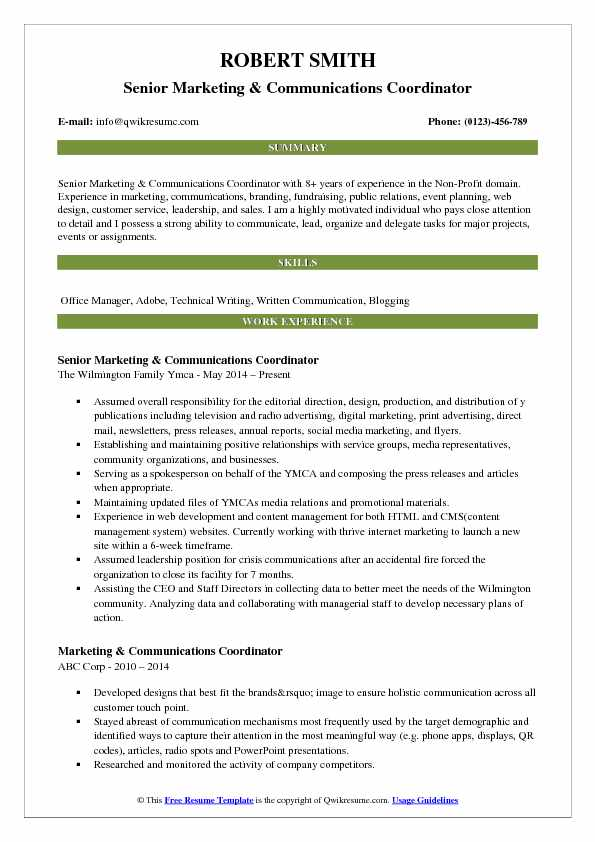Senior Marketing Communications Coordinator Resume Template