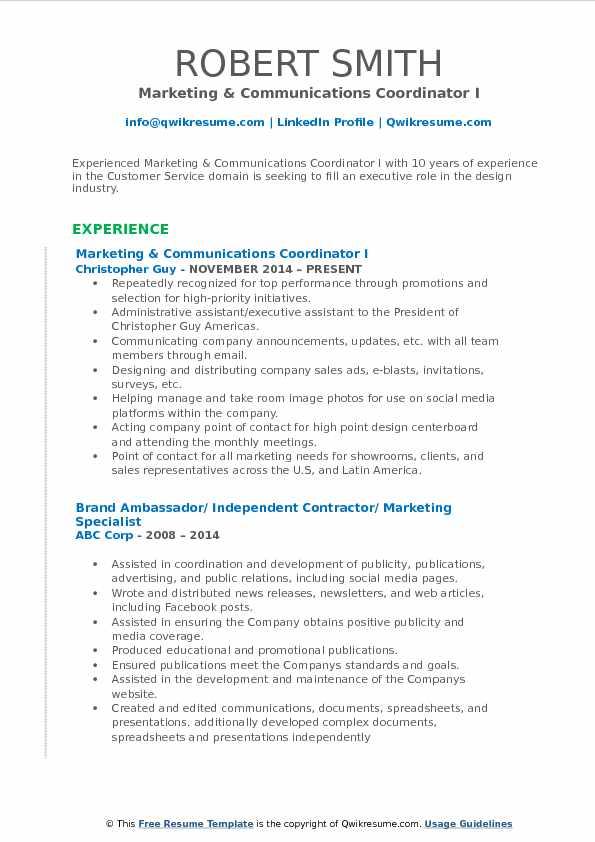 Marketing & Communications Coordinator I Resume Model