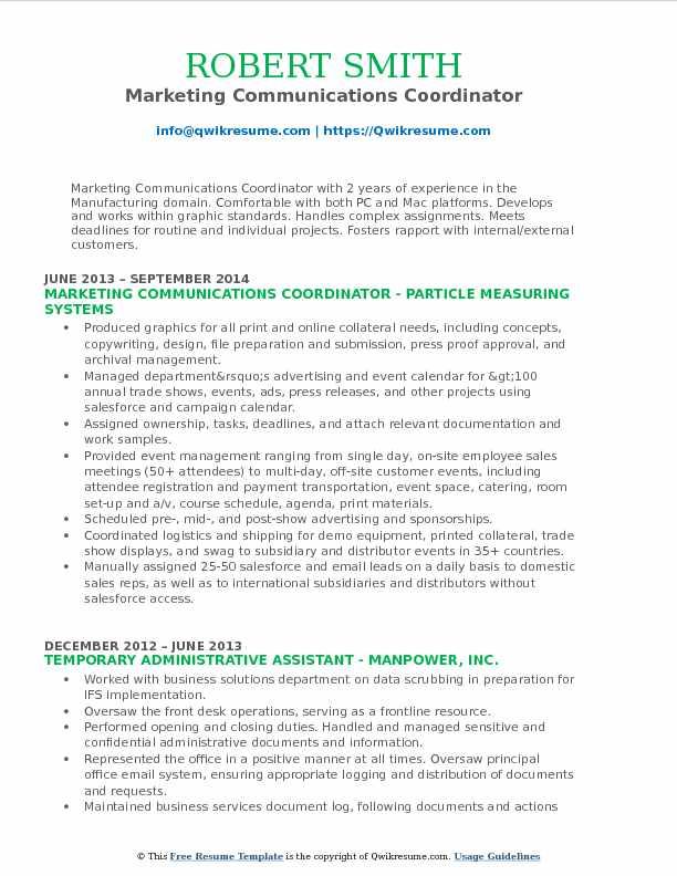 Marketing Communications Coordinator Resume Format