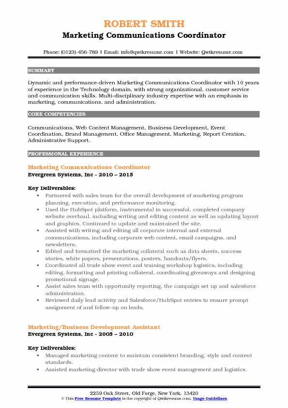 Marketing Communications Coordinator Resume Sample