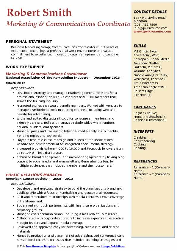 Marketing & Communications Coordinator Resume Model