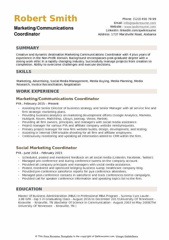 Marketing Communications Coordinator Resume Example
