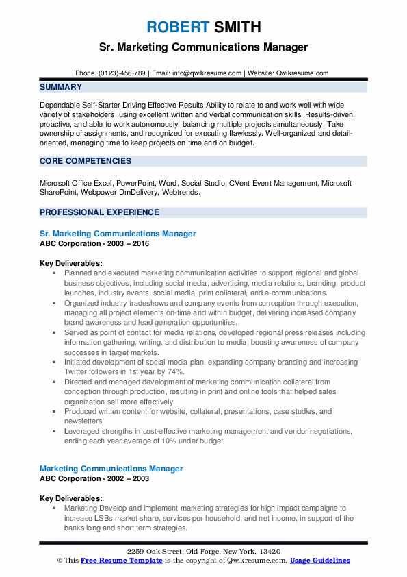 Sr. Marketing Communications Manager Resume Example