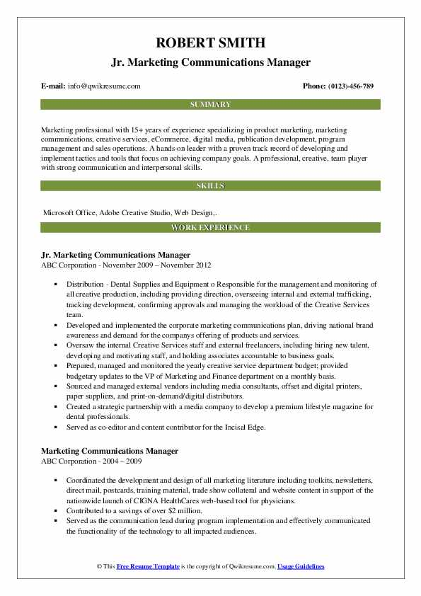 Jr. Marketing Communications Manager Resume Template