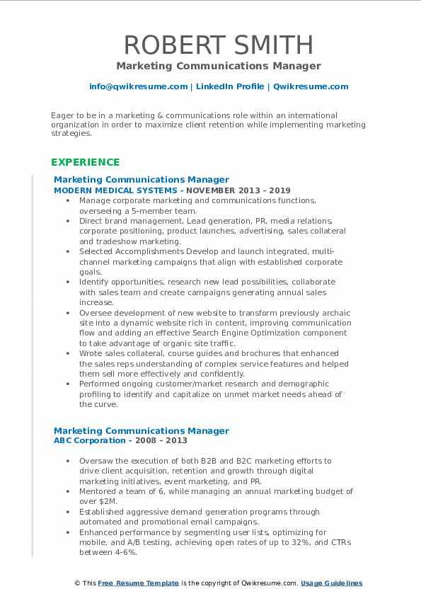 Marketing Communications Manager Resume Model
