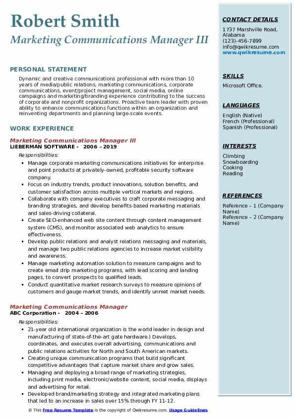 Marketing Communications Manager III Resume Sample