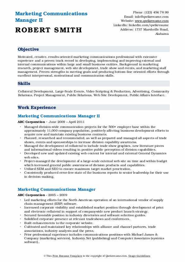 Marketing Communications Manager II Resume Model