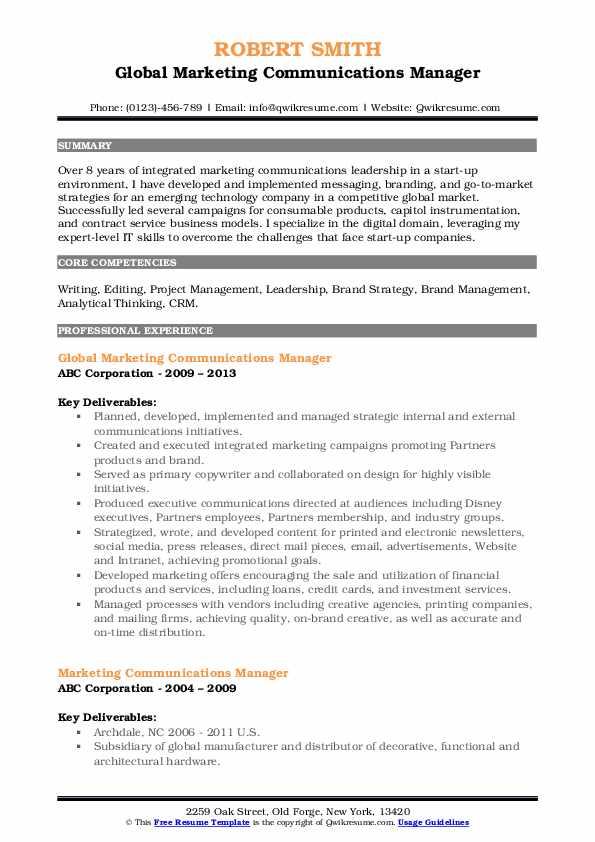 Global Marketing Communications Manager Resume Format