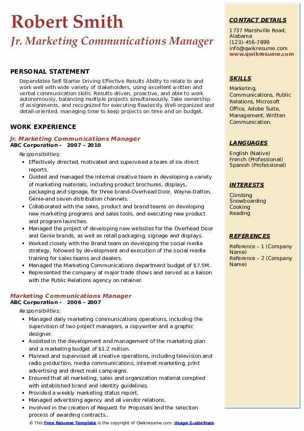 Jr. Marketing Communications Manager Resume Example