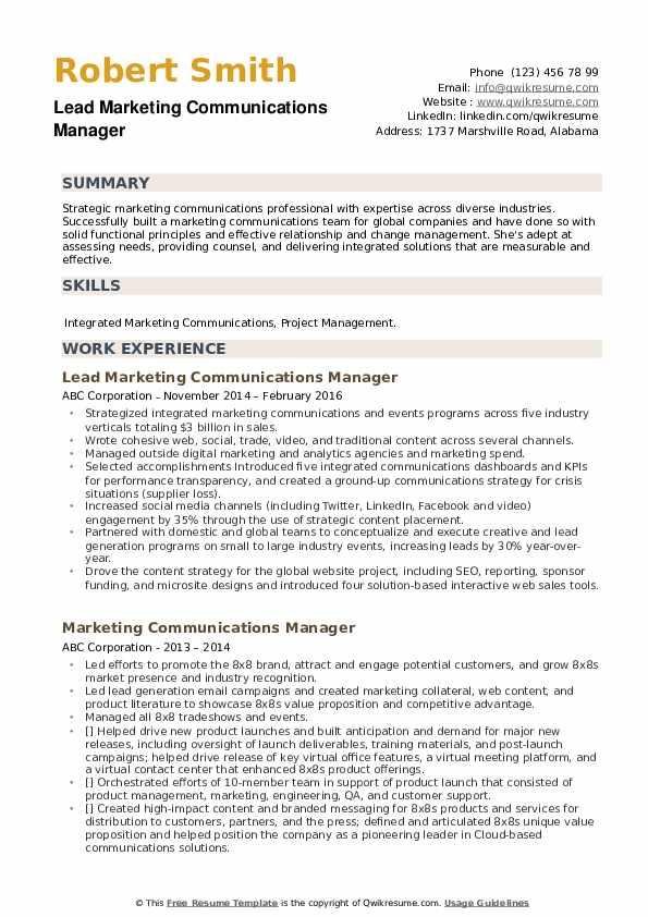 Lead Marketing Communications Manager Resume Model