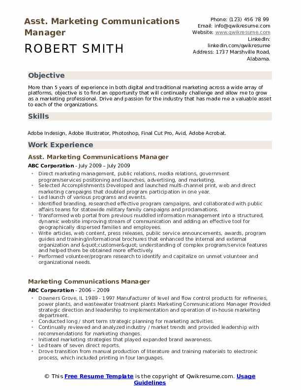 Asst. Marketing Communications Manager Resume Model