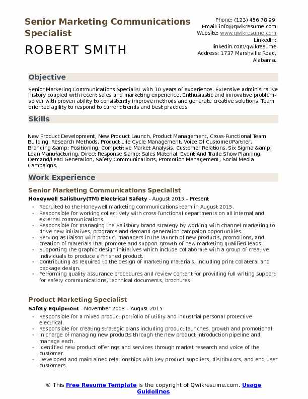 Senior Marketing Communications Specialist Resume Template
