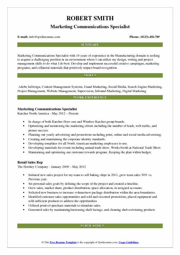 Marketing Communications Specialist Resume Template