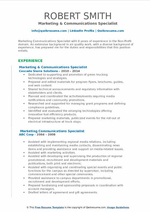 Marketing & Communications Specialist Resume Format