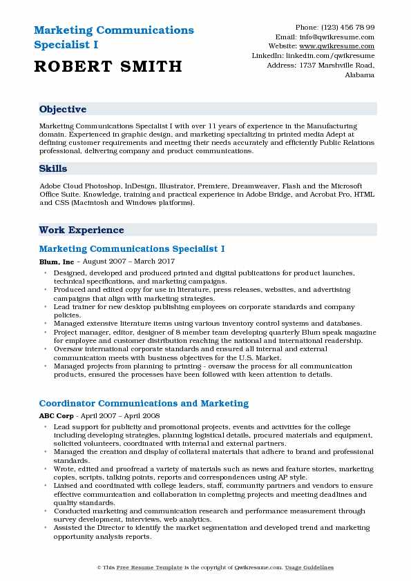 Marketing Communications Specialist I Resume Example